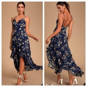 Navy Blue Floral Print Ruffled Maxi Dress